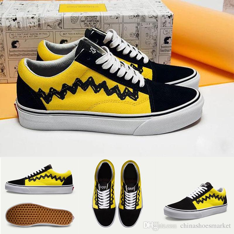 f93ed0cc64c 2018 New PEANUTS OLD SKOOL Charlie Brown Black Footwear Ian Connor Old  Skool Men Women Fashion Current Shoes Spikes Shoes Best Running Shoe From  ...