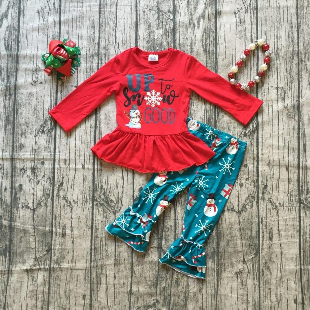 2019 New Christmas Baby Girls Children Clothes Boutique Cotton Up To