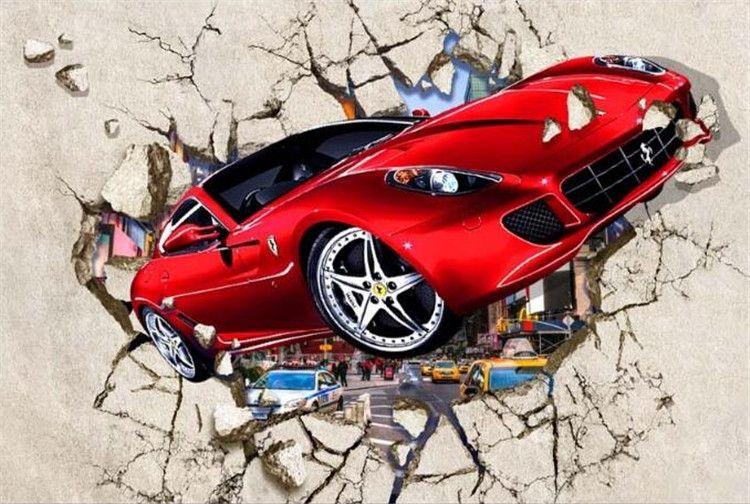 Carta da parati fotografica personalizzata Carta da parati 3D auto rossa Parete spezzata Carta da parati decorativa interni in metallo Carta da parati decorativa soggiorno