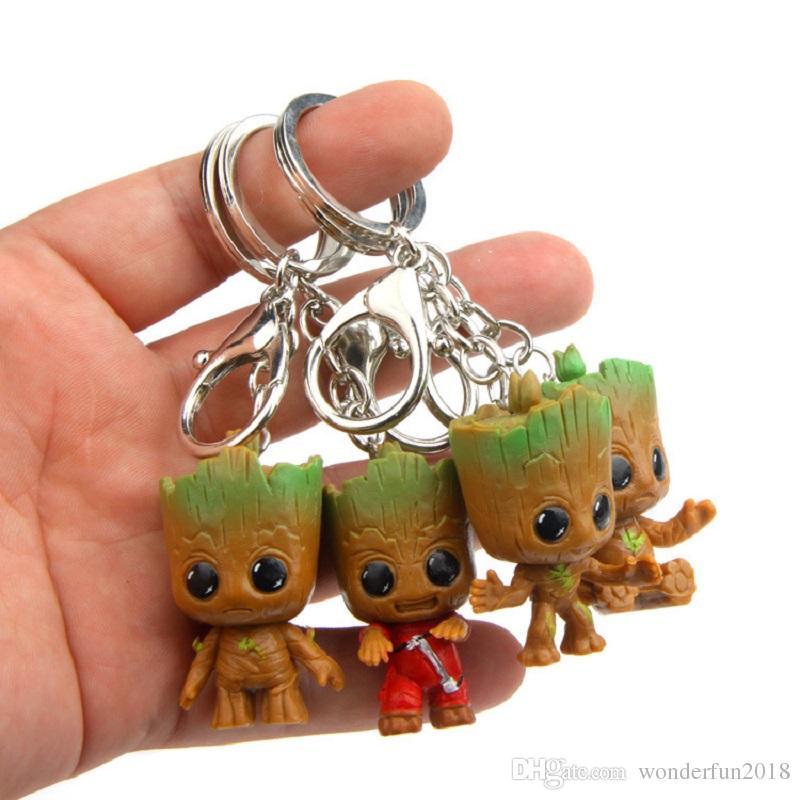 Sevimli Film Guardians Galaxy anahtarlık Mini Bebek Ağacı Modeli Eylem Ve Oyuncak Rakamlar Karikatür Kolye Bebekler Oyuncak Çocuklar İçin En İyi Hediyeler