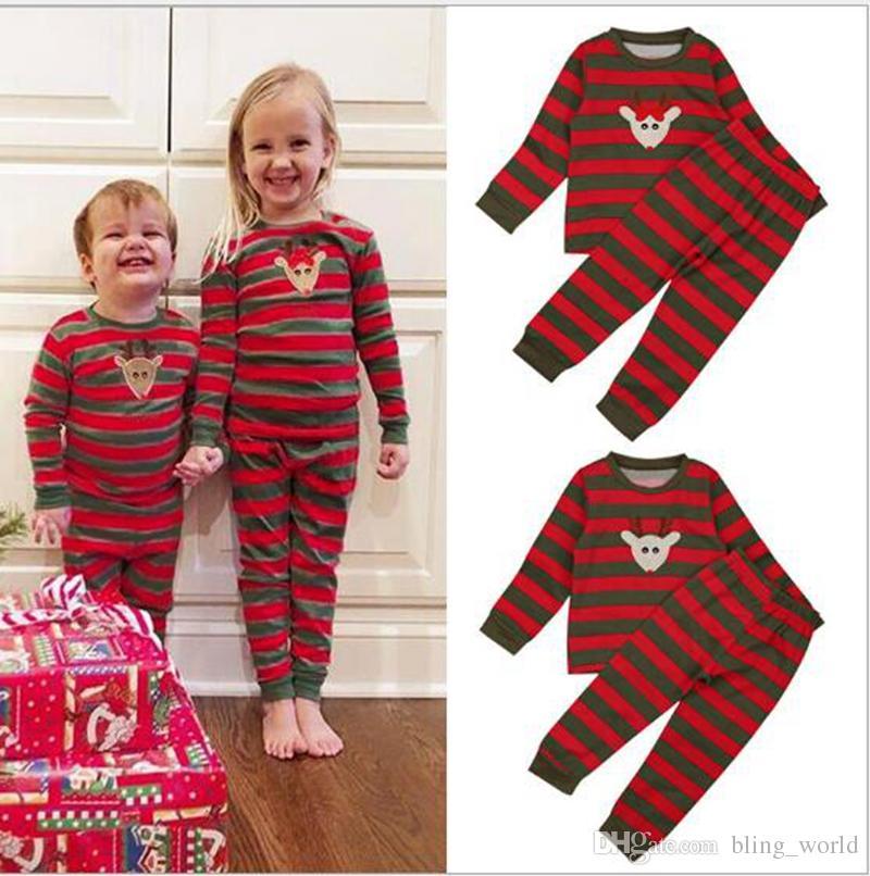 e7a018b77f Christmas Pajama Sets Kids Xmas Reindeer Stripe Sleepwear Nightwear Baby  Boy Girl Long Sleeve Pajamas Clothes Set YL874 Matching Holiday Outfits For  Kids ...
