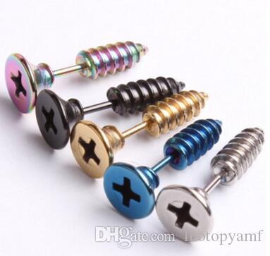 Men Women Unisex Stainless Steel Whole Screw Stud Earring Punk