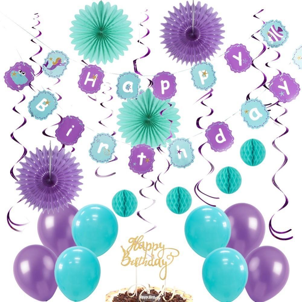 d5ddf51867e58 Compre Paquete De Sirena Decoraciones De Fiesta Sirena Decoración De  Cumpleaños Con Feliz Cumpleaños Banner Colgante Remolino Globos Cake Topper  A  18.19 ...