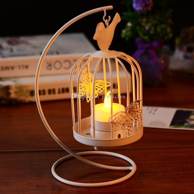 Hanging Design Metal Vintage White Butterfly Pattern Lantern