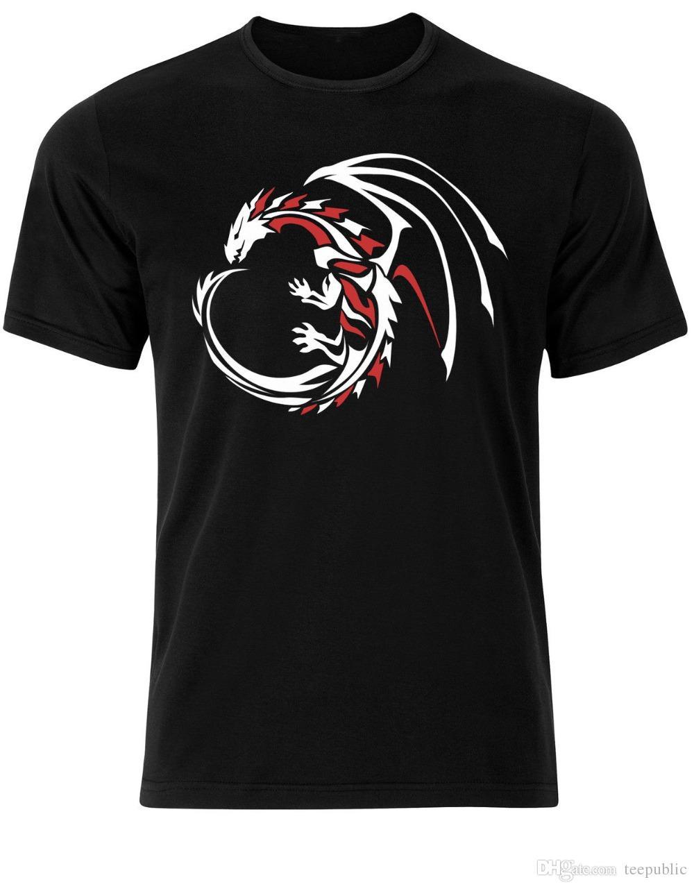 879f0678d 3D Hot Cheap Male T Shirt Men's Tribal Dragon Drake Wyrm Tattoo Design Mens  Tshirt Tee Top AE62 Crew Neck Design Short Sleeve