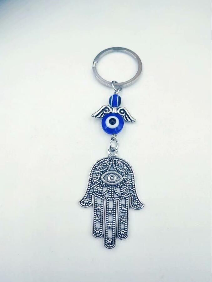 HOT 30 unids / lote Vintage Silver Hamsa Hand Keychain símbolos judíos Amuleto del encanto, Kabbalah Evil Eye Protection Keychain llavero A41