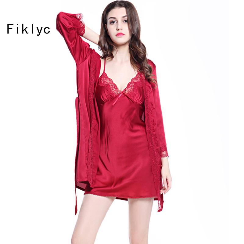 Online Cheap Fiklyc Brand Luxury Lace Satin Silk Robe & Gown Set Two ...