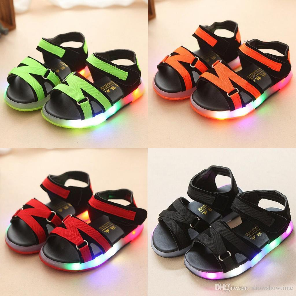 e0ae196dd745 Summer Male Female Kids Sandals Boys Girls Light Up Sandals Led Slip  Resistant Children Baby Sport Shoes Child Beach Leather Sandals Kids  Designer Shoes ...