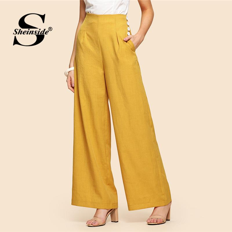 b26ee73bb042e 2019 Sheinside Yellow High Waist Wide Leg Pants Office Ladies Workwear  Button Detail Pockets Solid Trousers Women Elegant Loose Pants S18101605  From ...