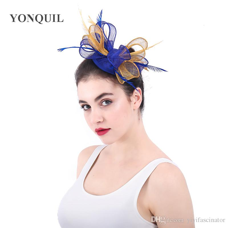 e6eb9574457 Royal Blue And Gold Sinamay Fascinator Hair Accessories Wedding Bridal Hats  With Feather Adorned Cocktail Hats Party Headwear SYF347 Wedding Top Hat  Womens ...