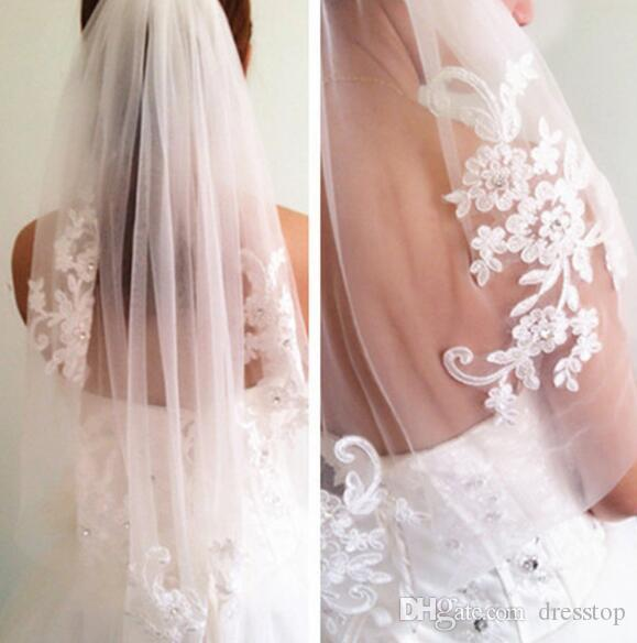 Princess Wedding Veils Cheap Long Lace Bridal Veils One Layer Lace Applique Edge Bride Veil