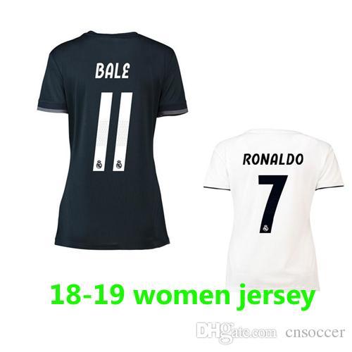 2019 2018 19 Real Madrid Women Home White Soccer Jersey 2019 Lady Arsenio  RONALDO BALE RAMOS ISCO Away Black Football Shirts Camiseta De Fútbol From  ... 3e9496563