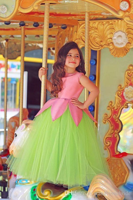 Cheap 2018 Said Mhamad Crew Colorful Pageant Dresses for Teens Flower Girls Dress Ball Gowns Vintage Gown for TuTu Wedding