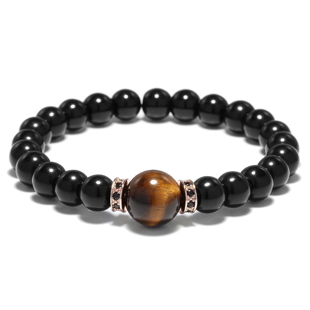 Minimalistische Obsidian Stein Yoga Meditation Perlen Armband für Männer Frauen handgemachten Schmuck Bijoux Femme