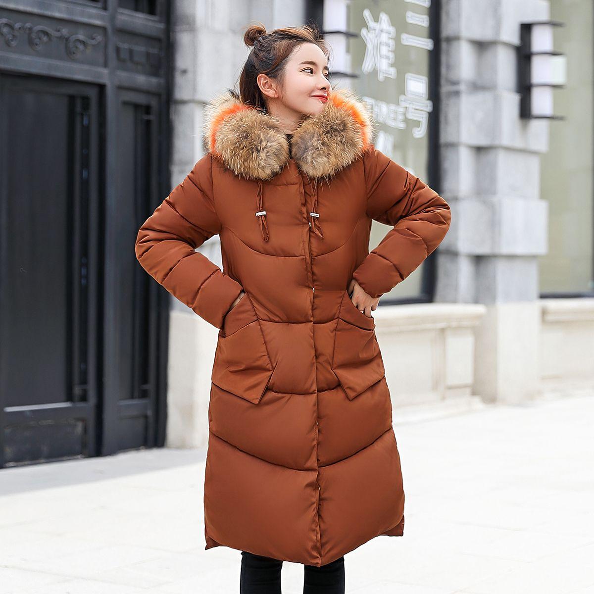 2018 Winter Frauen Mantel lange warme Parka weibliche Mode großen Pelzkragen Daunenjacke Baumwolle Frauen plus Größe dicken Parkas Damen Y18102502