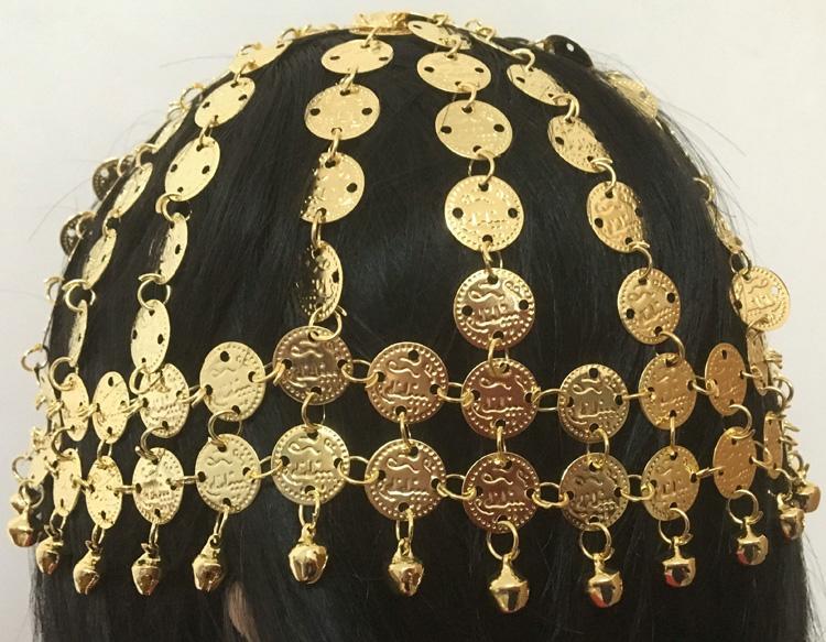 Compre Dança Do Ventre Tiara Tribal Headwear Coined Head Cap Chapéu Traje  De Cabeça De Duixinju 512cd04bc85