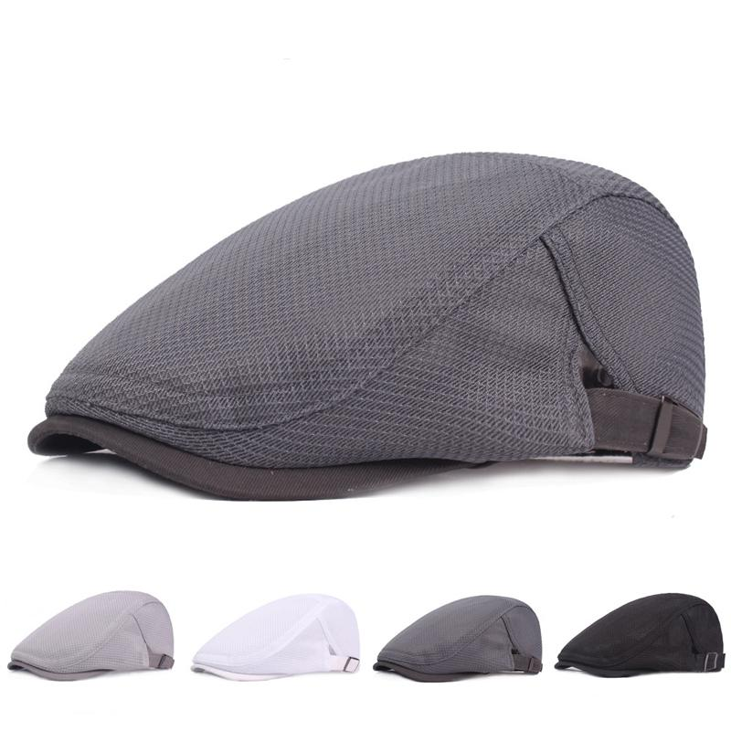 07bb0f12eecb Unisex Solid Color Net Cap Polyester Newsboy Caps Hats Portable Casual Men  Women Berets Flat Driving Hunting Golf Cabbie Cap