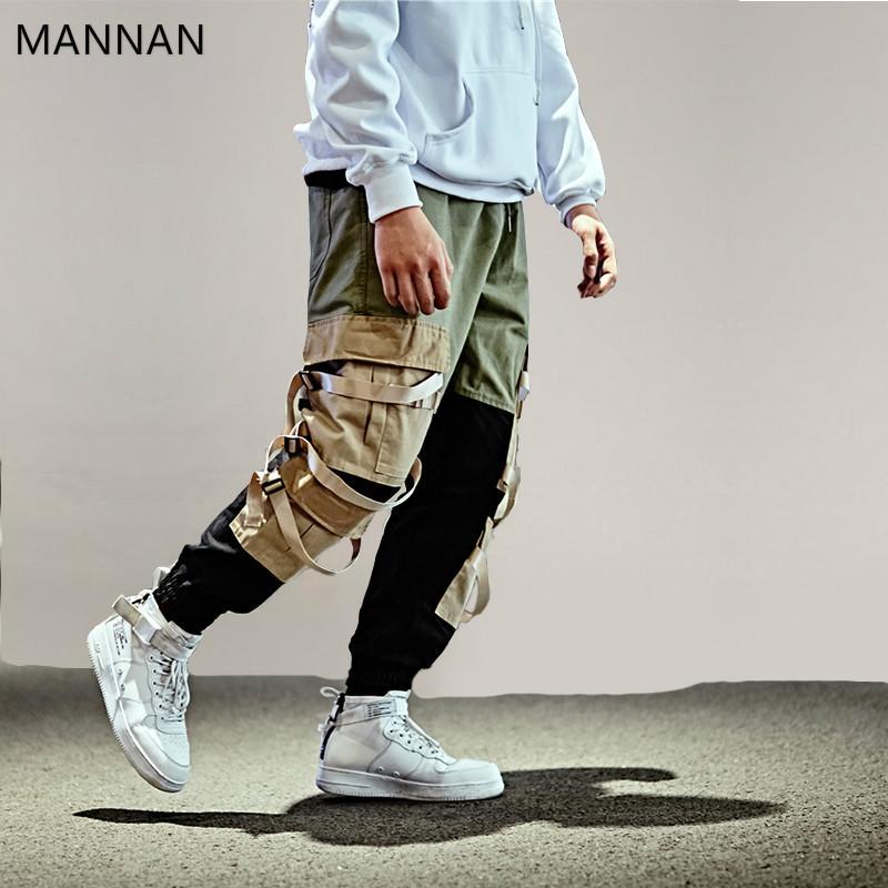 Acquista Pantaloni Cargo Hip Hop Streetwear Uomini Pantaloni Pantaloni  Larghi Harem Patchwork Pantaloni Multi Tasche Casual Tessuto Swag Nastro  Harajuku A ... f70d33b26dcb