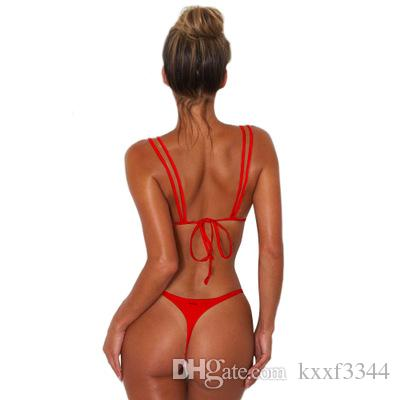 Swimsuit suit Europe and the United States sexy split bikini 2018 summer double adjustable beach swimsuit with