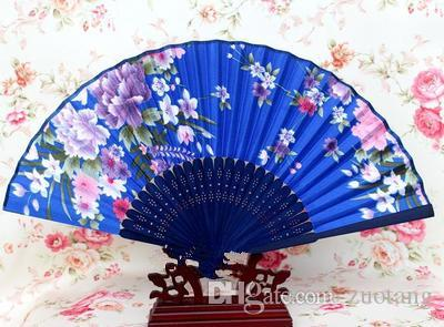 Portable Japanese Fabric Hand Fan Bamboo Floral Craft Silk Folding Fans for Weddings Party Women Favor Fan Wholesale
