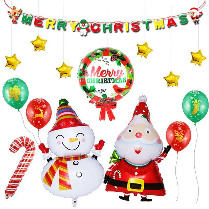 Weihnachtsfeier Cartoon.Cartoon Frohe Weihnachten Ballon Weihnachtsmann Schneemann Stern Ballon Weihnachtsfeier Dekorationen Drop Shipping