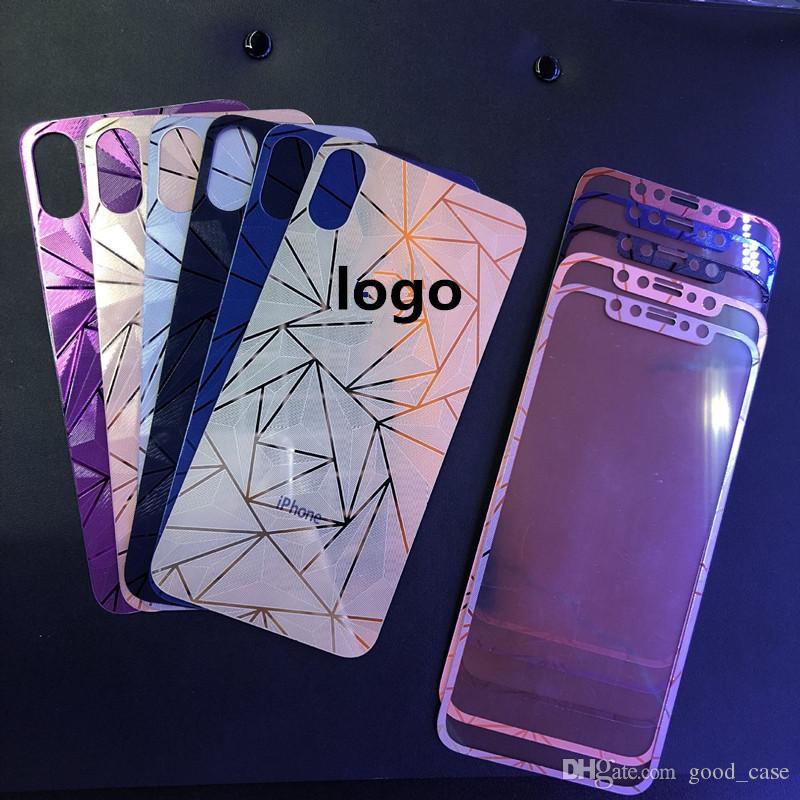 3D diamant rose or miroir verre trempé protecteur d'écran film de galvanoplastie autocollant pour iphone x 4s 5 se 6 6s plus 7 8 plus
