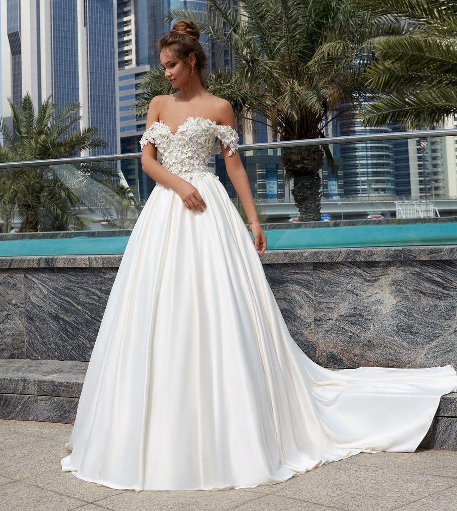 c1f9e1e5be12a Ball Gown Off Shoulder Sexy Wedding Gowns 2018 Vestido De Novia 3D Flowers  Sweetheart Satin Bridal Dress Gown Plus Size Lace Bridal Gowns Lace Wedding  ...