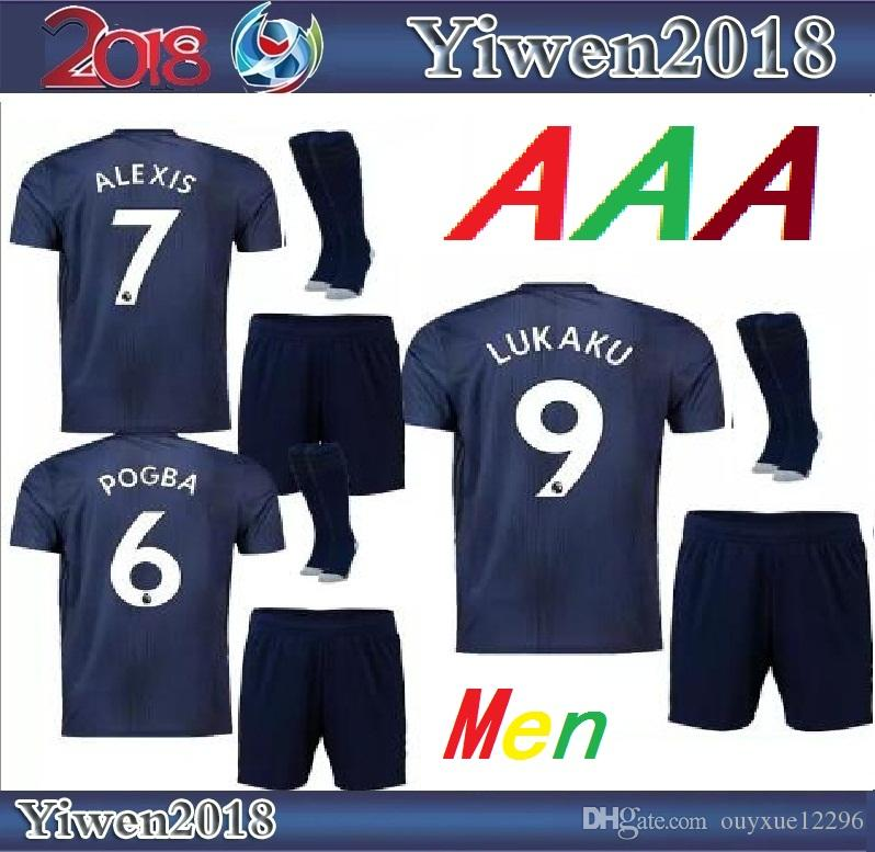 08a41e6b7 Adult MaN Kits 18 19 POGBA ALEXIS UNITEd LUKAKU Soccer Jerseys KITS ...