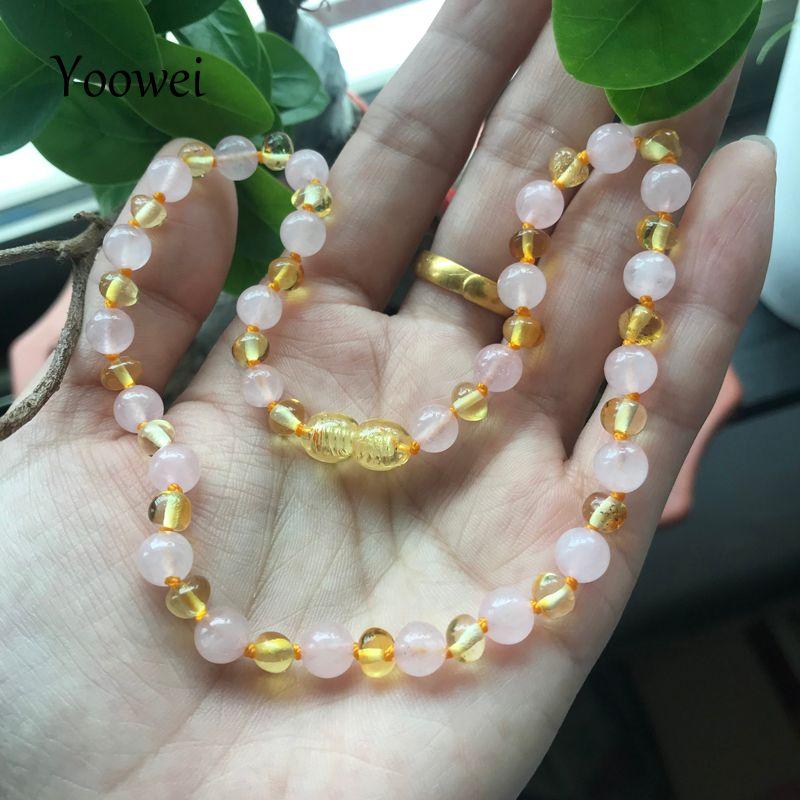 0a2883051580 Yoowei 16 estilo nuevo ámbar dentición pulsera / collar para bebé adulto  mujeres auténtica piedra natural ámbar báltico joyería al por mayor