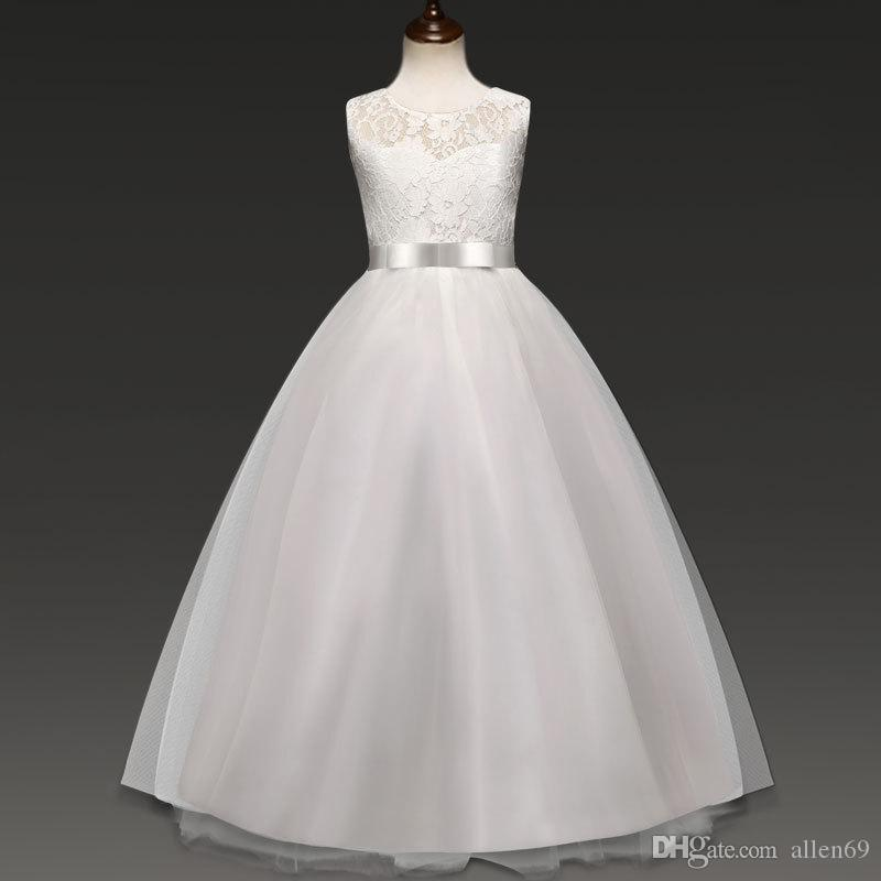 2e72bfb3f03 2019 New 2019 Wedding Princess Dresses For Girls Party Ball Down Dress Teen  Girls Bowknot Sleeveless For Long Skirt Kids Clothes Performance From  Allen69