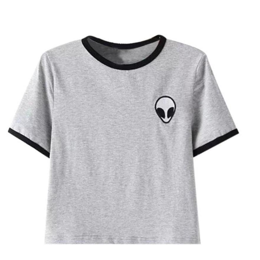 d0059a3fd8143 Compre Verano Sexy Camiseta De Las Mujeres De Algodón De Impresión 3d  Suelta De Manga Corta Crop Tops Mujer Camisetas Alien Camiseta L Ady Blusas  Ropa A ...
