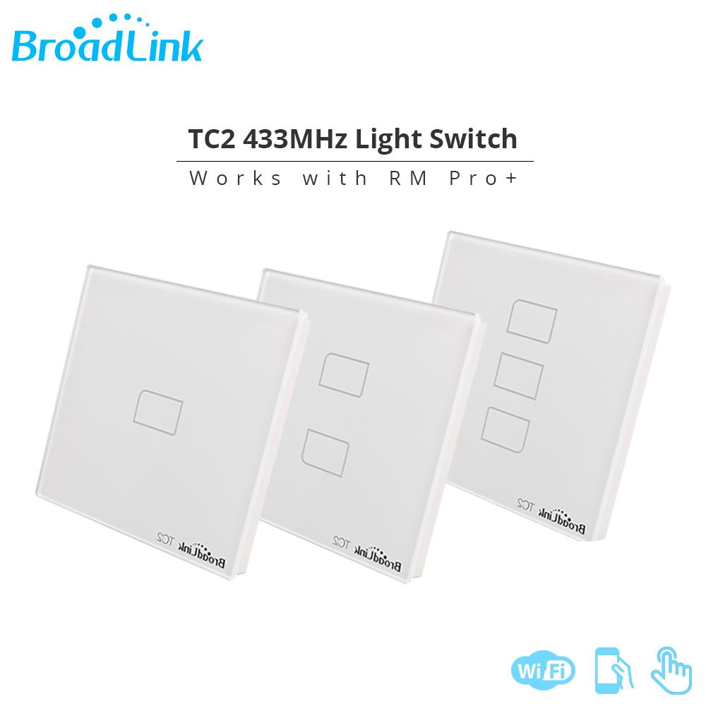 Original Broadlink TC2 UK Standard Smart Home Touch Panel 433MHZ Remote  Control Wall Light Switch Work With RM Pro Via APP Wifi