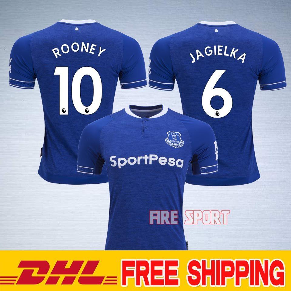 2019 DHL Everton Home Blue Soccer Jersey 18 19  10 ROONEY Shirt 2019   8  BARKLEY  6 JAGIELKA Football Uniforms Sales From Firesport 90391dbc3