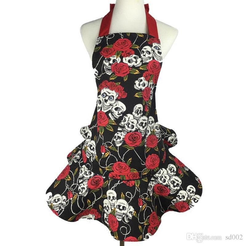 Fashion Lady Aprons Cotton Canvas Rose Skull Head Apron Kitchen Cooking Pinafore For Woman Waiter Cleaning Accessories 26dj C R