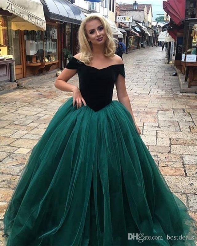 2018 Hunter Green Off the Shoulder Velvet Prom Vestidos Ball Gown Tulle Formal Vestidos de fiesta Barato Ocasión especial