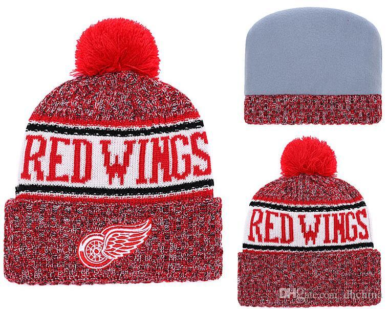 2019 New Beanies Red Wings Hockey 2018 Hot Knit Beanie Pom Pom Knit Hats  Baseball Football Basketball Sport Beanies Mix Match Order All Caps From  Dhchina d7c665e996a