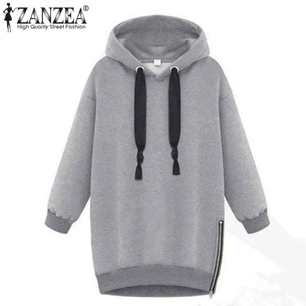 9aac23c39b8 2019 2018 Autumn Winter Zanzea Women Hoodies Long Sleeve Hooded Loose Casual  Warm Sweatshirt Oversized Plus Size Sweatshirts L18100702 From Tai01
