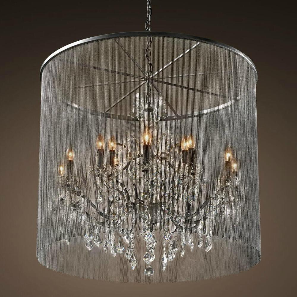 Russia rustic crystal chandelier popular small round chandelier drops collections with aluminum curtain for bedroom dining room