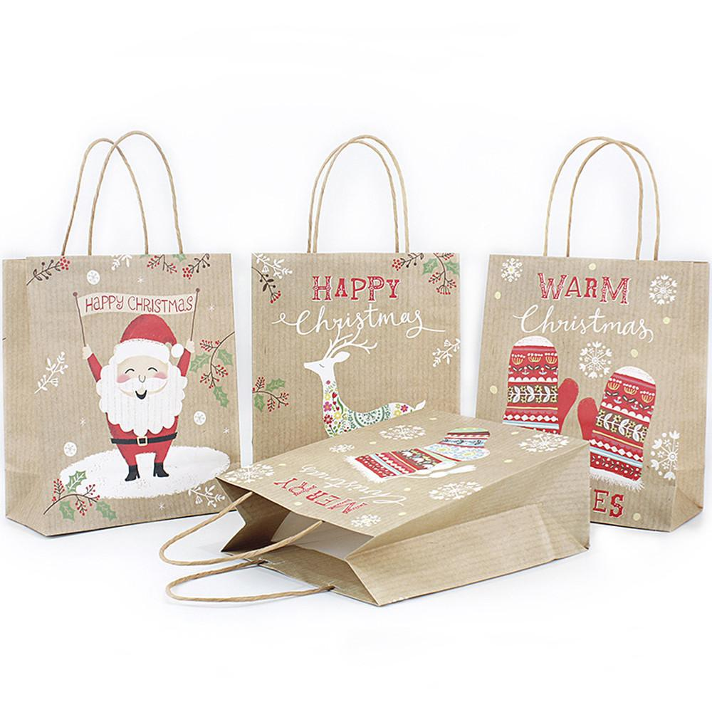 Merry Christmas Kraft Paper Bag Gift Bag Cute Candy Child Christmas