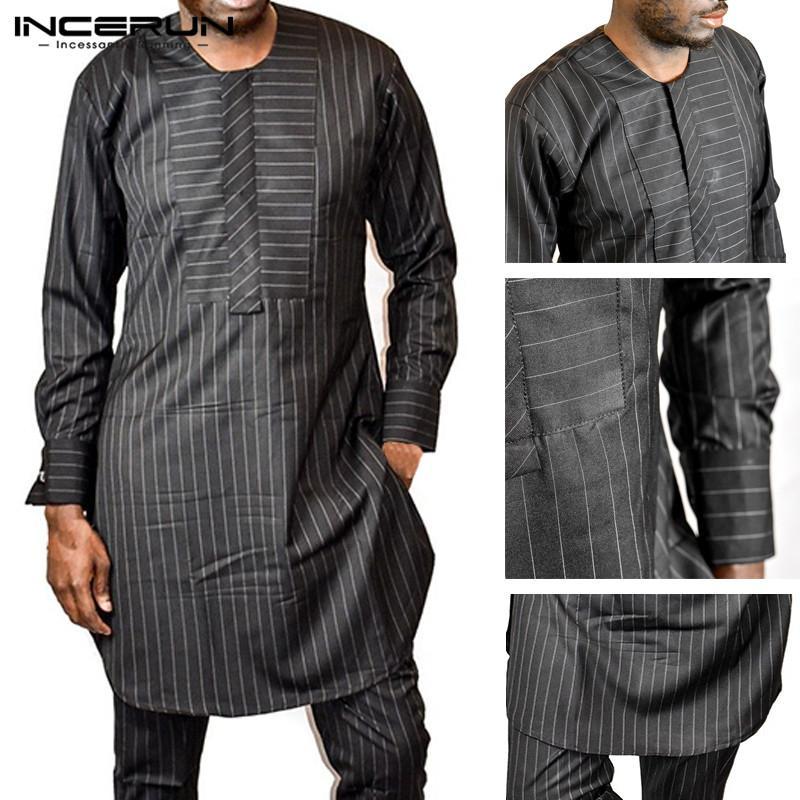 INCERUN Men Casual Long Shirt Kaftan African Clothes Striped O Neck Long  Sleeve Fashion Tops Dashiki African Clothing Men S 5XL UK 2019 From  Cardigun fdb7cbc92bf
