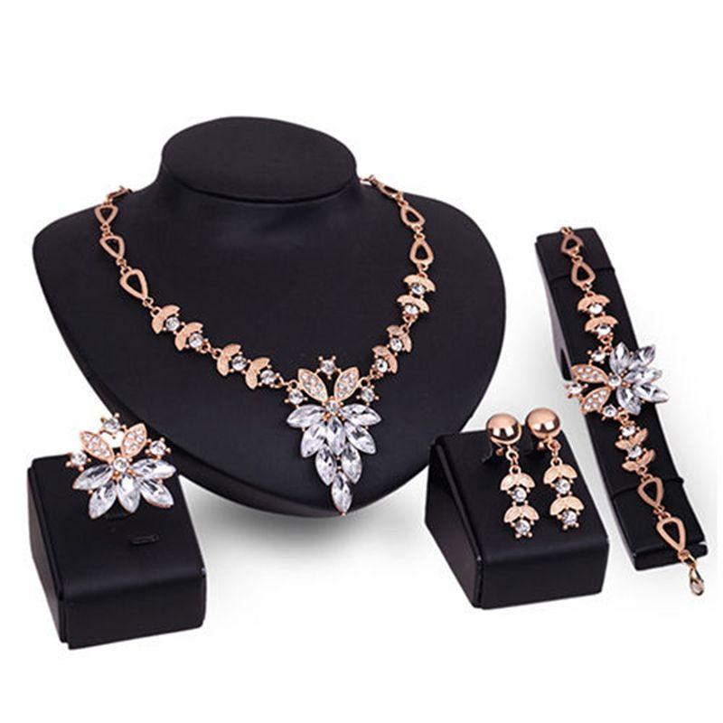 Gold Weißer Kristall Schmuck Sets Afrikanische Aussage Halskette Ohrringe Armband Schmuck Frauen Hochzeit Party Zubehör # 92601