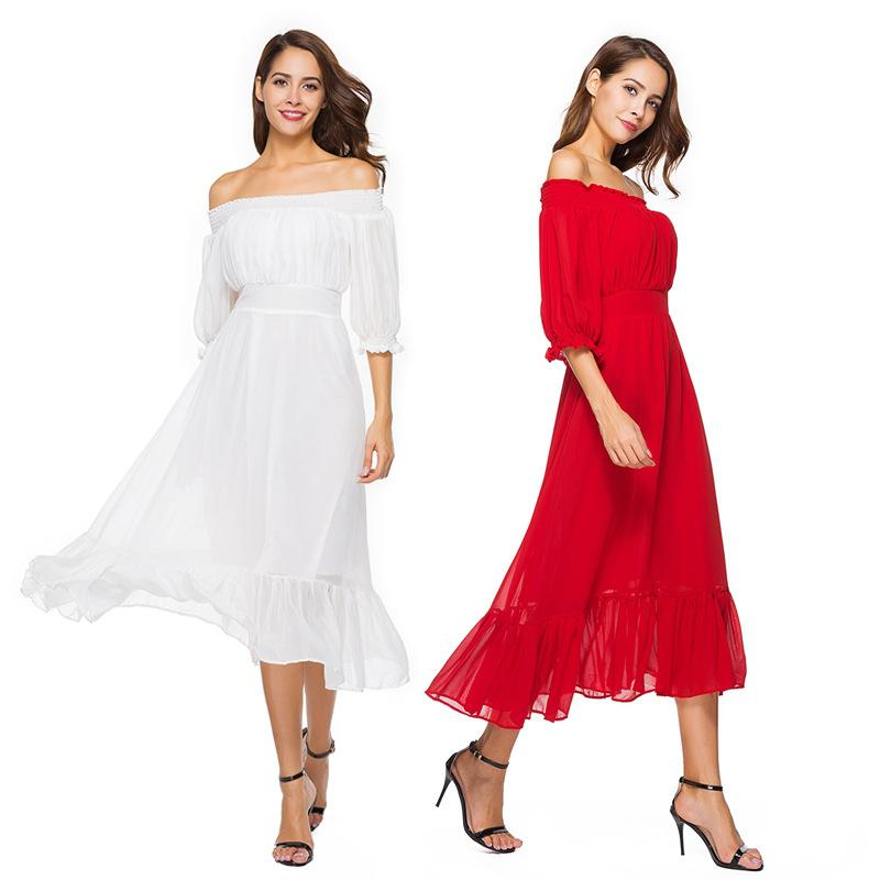 d4b6df3188 2019 Women S Best Beach Dresses Wedding Dresses Spring And Summer New Pure  Color One Word Collar And Slim Chiffon Dress Beach Skirt From Lindapyl, ...