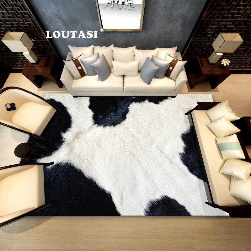 LOUTASI Morbido modello di mucca artificiale pelle di pecora tappeto camera  da letto soggiorno stuoia lana caldo peloso tappeto sedile caldo Textil ...