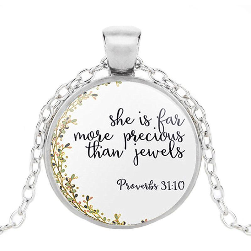TM11 Silver Gold Bible Verse Necklace Pendant Scripture Christian Necklaces  Religious Glass Round Study Jewelry