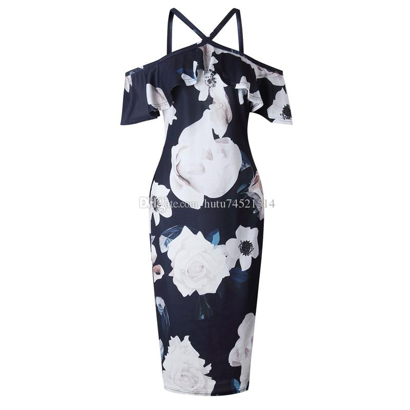 2018 Fashion Womens Ladies Floral Off-Shoulder Frill Bodycon Summer Party Cocktail Midi Dress Plus Size XL