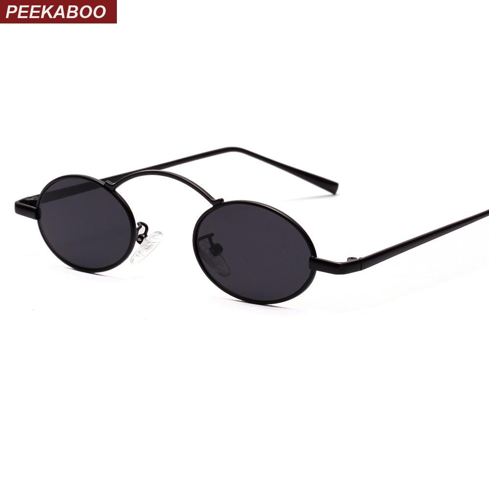 6fe6cd63d0 Compre Peekaboo Vintage Pequeñas Gafas De Sol Redondas Hombres Rojo 2019  Negro Gafas De Sol Ovaladas Para Mujeres Retro Marco De Metal Unisex A  $13.24 Del ...