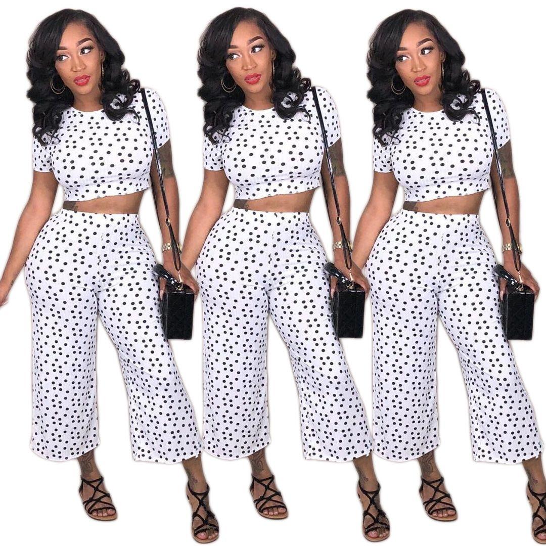719da2fe3fe2 Women Polka Dot Print Pants Set White O Neck Short Sleeve Crop Top ...