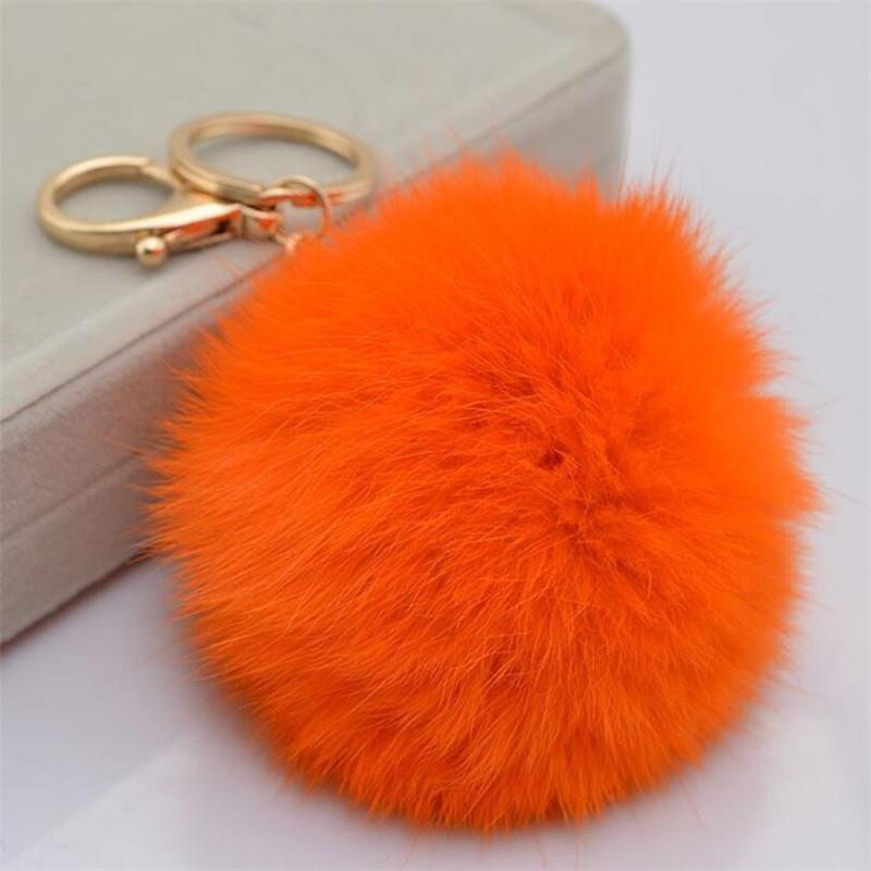 Faux Rabbit fur Ball Pom Pom Keychain Cell Phone Car Key Holder Pendant Handbag Gold Metal Charm Key Ring