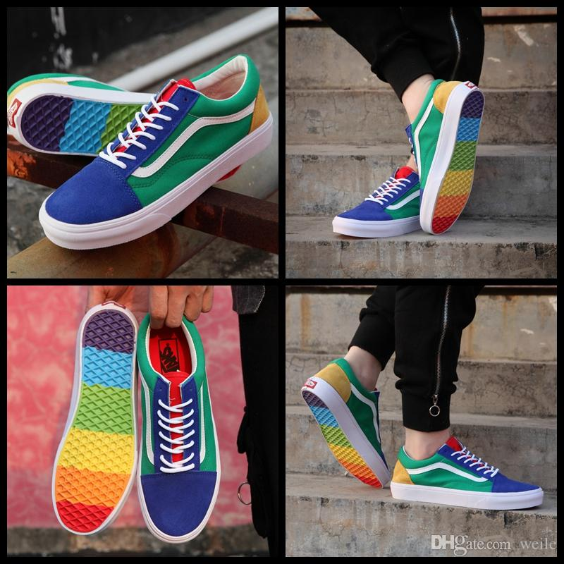 2019 2018 New Old Skool Rainbow Men Women Casual Shoes Fashion Zapatillas  De Deporte Shoes Canvas Skateboard Sport Designer Sneakers Eur 36 44 From  Weile 19fd4a157