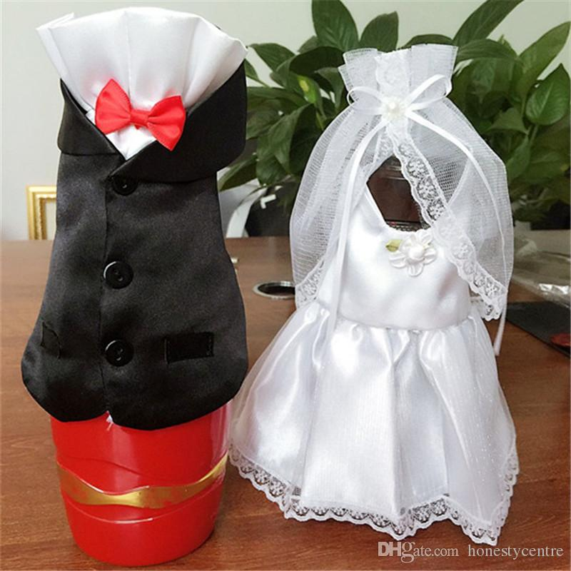 Fashion Handmade Wedding Decorations Bride And Groom Dress Wine